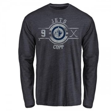 Men's Andrew Copp Winnipeg Jets Insignia Tri-Blend Long Sleeve T-Shirt - Navy