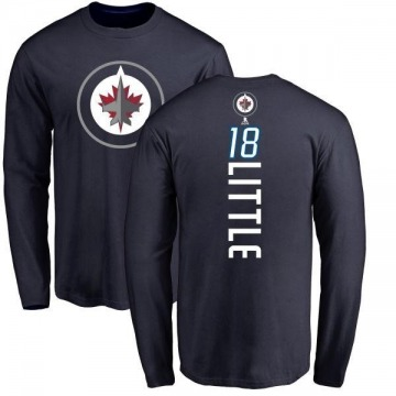 Men's Bryan Little Winnipeg Jets Backer Long Sleeve T-Shirt - Navy
