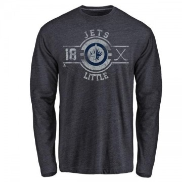 Men's Bryan Little Winnipeg Jets Insignia Tri-Blend Long Sleeve T-Shirt - Navy