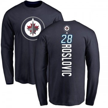Men's Jack Roslovic Winnipeg Jets Backer Long Sleeve T-Shirt - Navy